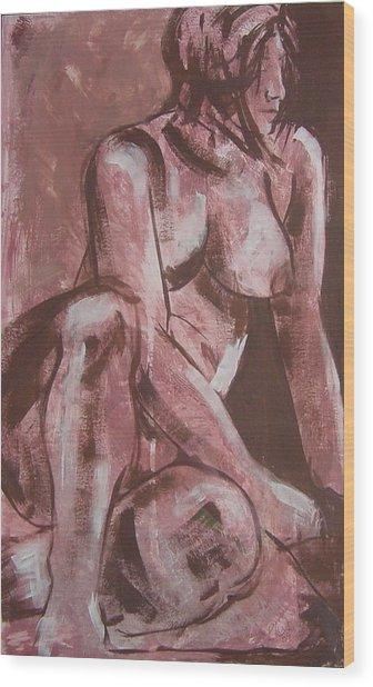 Aubergine Female Nude Wood Print