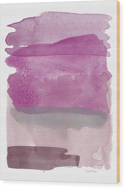 Aubergine Wash- Art By Linda Woods Wood Print