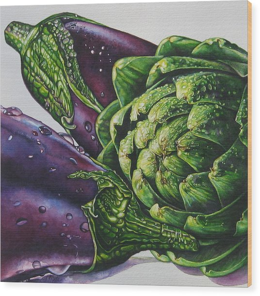 Aubergines And An Artichoke Wood Print