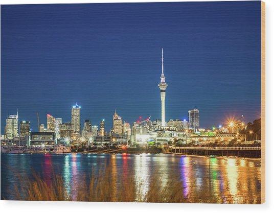 Auckland At Dusk Wood Print