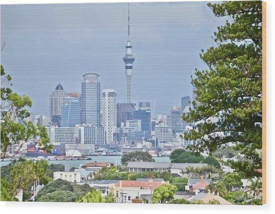 Auckland City C B D Wood Print