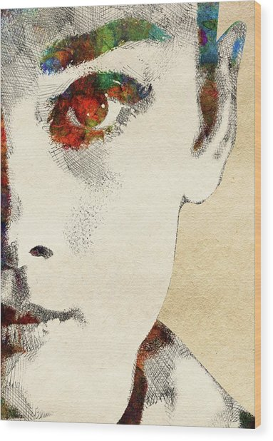 Audrey Half Face Portrait Wood Print