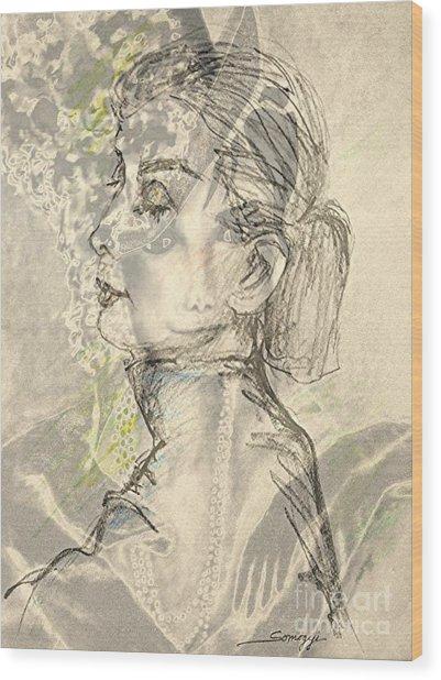 Audrey Two -- Portrait Of Audrey Hepburn Wood Print