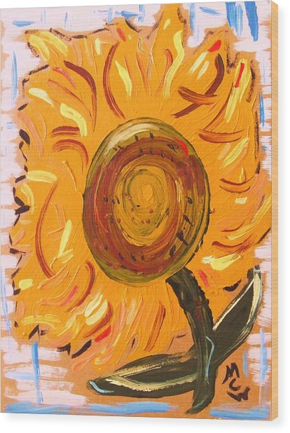 August 7 Late Day Sunflower Wood Print by Mary Carol Williams