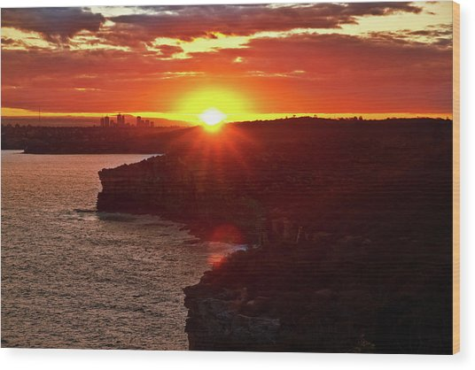 August Sunset From North Head Wood Print
