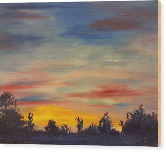 August Sunset In Sw Montana Wood Print
