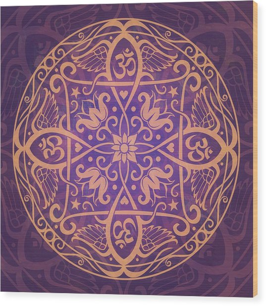 Aum Awakening Mandala Wood Print