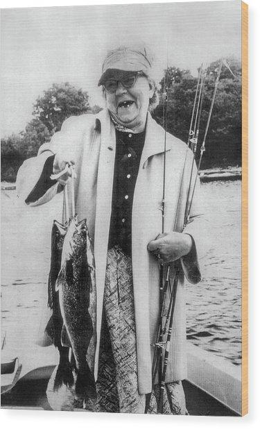 Aunt Grace Fishing Wood Print