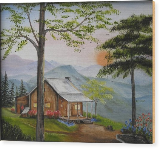 Auntie's Cabin Wood Print by RJ McNall