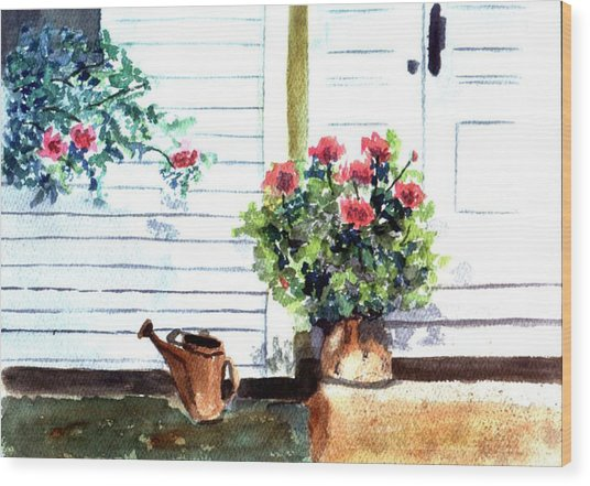 Wood Print featuring the painting Auntie's Porch by Jane Croteau