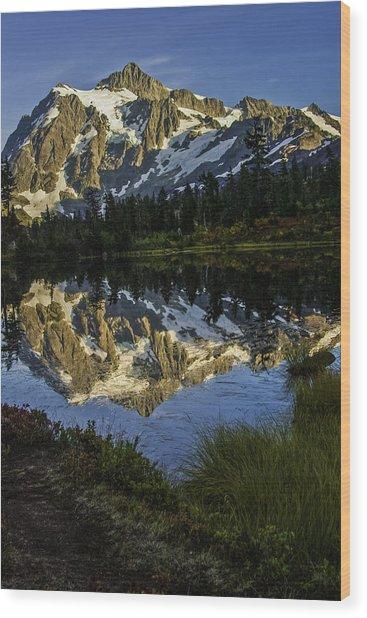 Aunumn Mountain Reflection Wood Print
