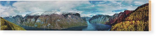 Aurlandsfjorden Panorama Revisited Wood Print