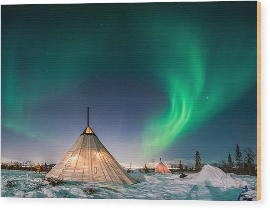 Aurora Above Sami Tent Wood Print