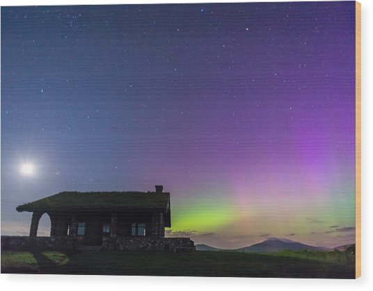 Aurora And Moon From Beech Hill Wood Print by Tim Sullivan
