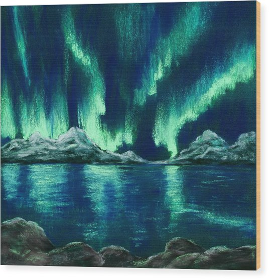 Wood Print featuring the painting Aurora Borealis by Anastasiya Malakhova
