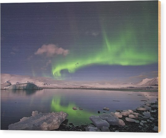 Aurora Borealis And Reflection #2 Wood Print