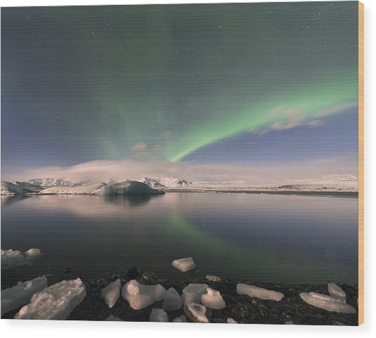 Aurora Borealis And Reflection Wood Print