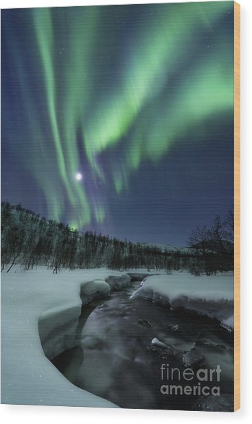 Wood Print featuring the photograph Aurora Borealis Over Blafjellelva River by Arild Heitmann