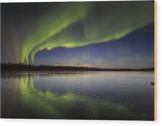 Aurora Lake Wood Print