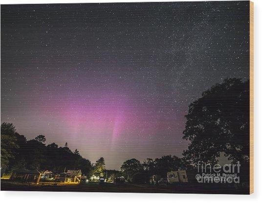 Aurora Over Sagadahoc Bay Campground Wood Print