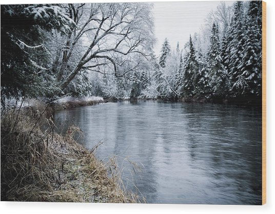 Ausable Winter Wood Print by Todd Bissonette
