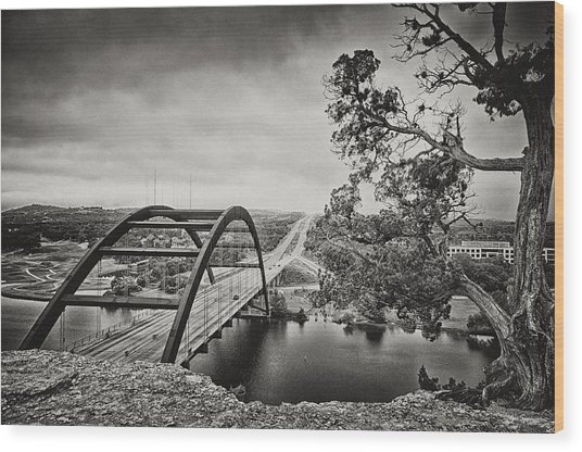 Austin 360 Bridge In Early Dawn Wood Print