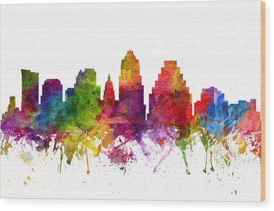 Austin Cityscape 06 Wood Print