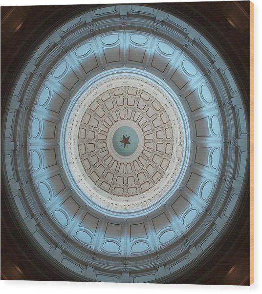 Austin Capitol Dome In Gray And Blue Wood Print