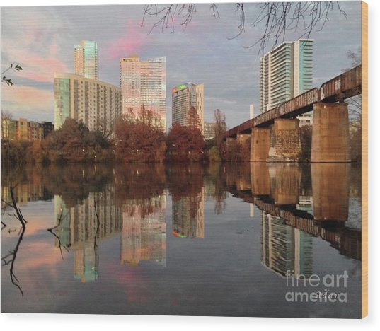 Austin Hike And Bike Trail - Train Trestle 1 Sunset Triptych Left Wood Print