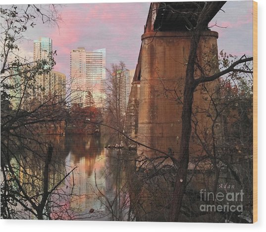 Austin Hike And Bike Trail - Train Trestle 1 Sunset Triptych Middle Wood Print