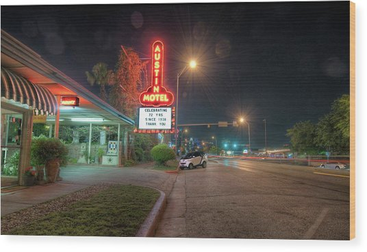 Austin Motel Wood Print