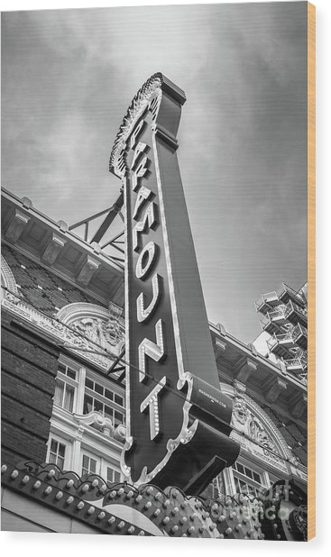 Austin Paramount Theatre Sign Black And White Photo Wood Print by Paul Velgos