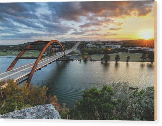 Austin Pennybacker 360 Bridge Sunset Wood Print by Preston Broadfoot