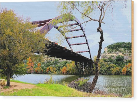 Austin Pennybacker Bridge In Autumn Wood Print