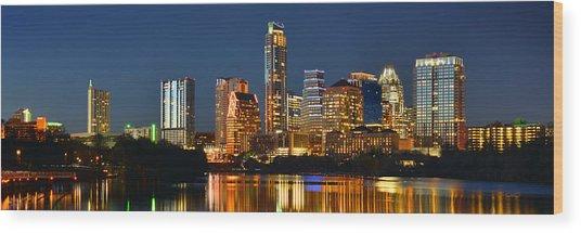Austin Skyline At Night Color Panorama Texas Wood Print
