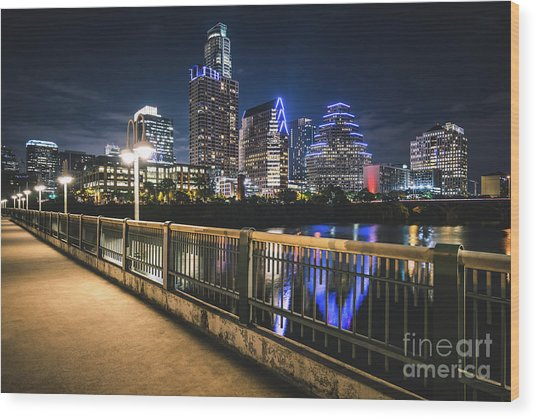 Austin Skyline At Night In Austin Texas Wood Print by Paul Velgos