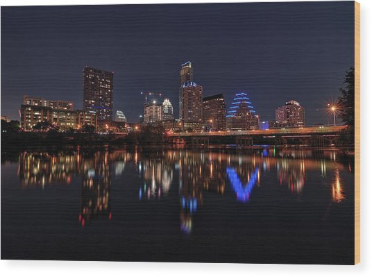 Austin Skyline At Night Wood Print
