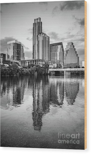 Austin Skyline Reflection In Black And White  Wood Print by Paul Velgos