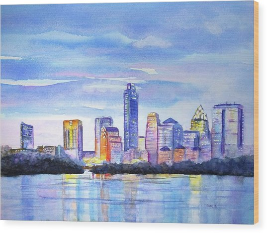 Austin Skyline Sunset Glow Wood Print