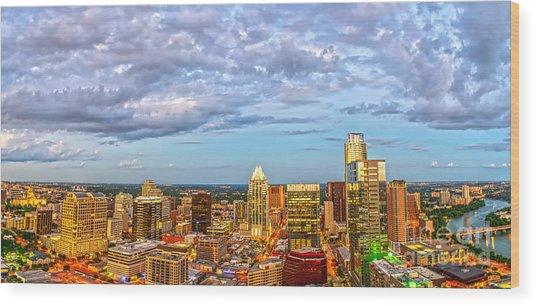 Austin Sunset Panorama Wood Print