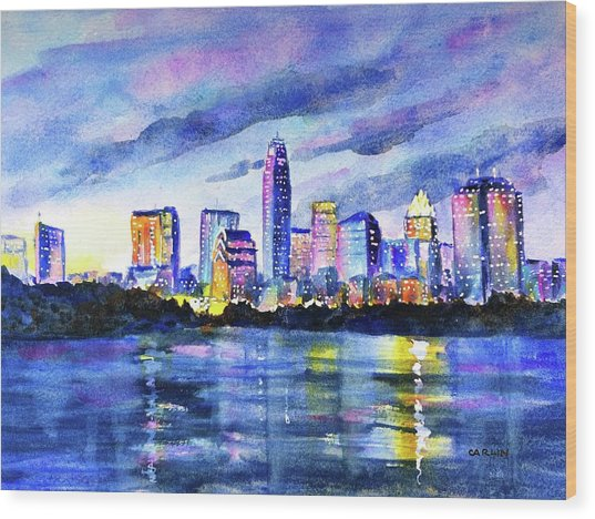 Austin Texas Colorful Skyline Sunset Wood Print