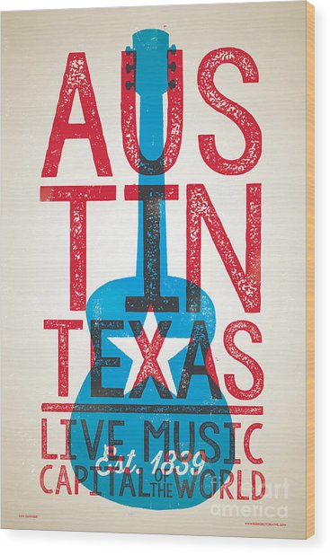 Austin Poster - Texas - Live Music Wood Print