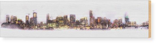 Austin Texas Skyline With White Blackground  Wood Print