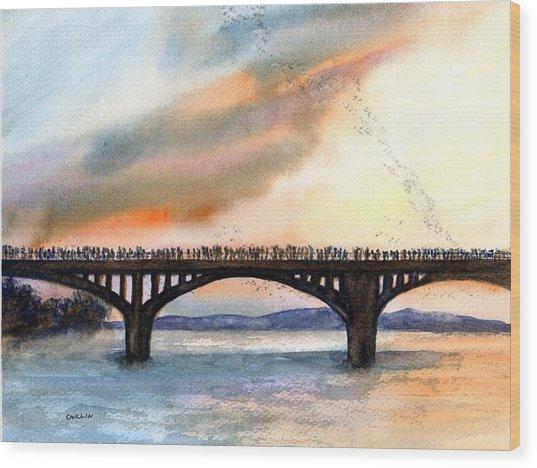 Austin, Tx Congress Bridge Bats Wood Print