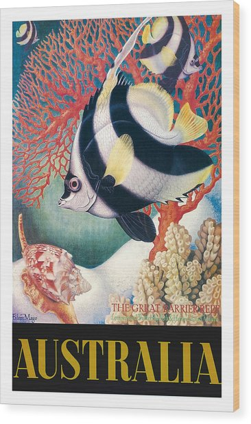 Australia Great Barrier Reef Vintage World Travel Poster By Eileen Mayo Wood Print
