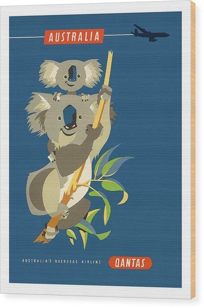 Australia Koala Bears Qantas Empire Airways Vintage Travel Poster Wood Print