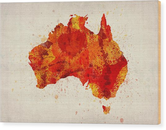 Australia Watercolor Map Art Print Wood Print