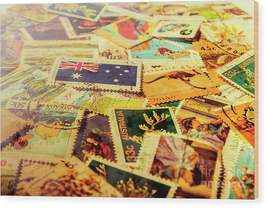 Australian Postal Background Wood Print