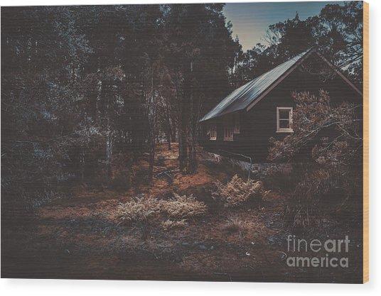 Australian Shack In A Dense Autumn Forest Wood Print