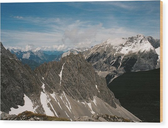Austrian Alps On A Sunny Day Wood Print by Patrick Murphy